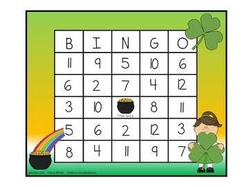 Addition BINGO With 2 Dice - St. Patty's  Edition