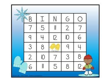 Addition BINGO With 2 Dice - Winter Fun Edition