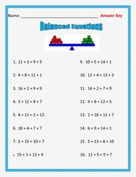 Addition Balanced Equations - Equal Sides of the Equation- 32 Equations
