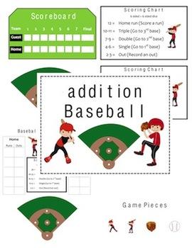 Addition Baseball Adding - Common Core Math Folder Game