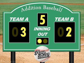 Addition Games: Interactive Baseball PowerPoint Game NO PREP