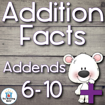 Addition Basic Facts 6-10's Addends
