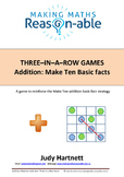 Addition Basic Facts - Make Ten 3-in-a-row game