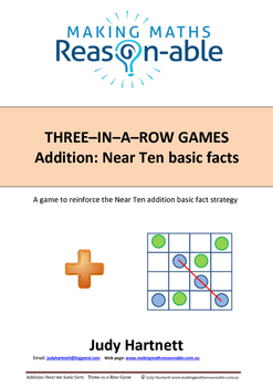 Addition Basic Facts - Near Ten 3-in-a-row game
