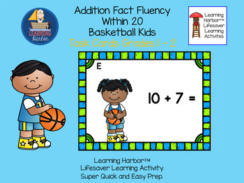 Addition Basketball Kids Fact Fluency Within 20  Task Cards  Grades 1 - 2
