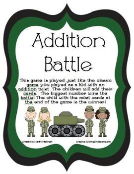 Addition Battle-Math Center-Sums to 20