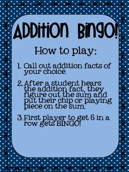 Addition Bingo