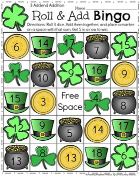 St. Patrick's Day - Roll and Add Bingo
