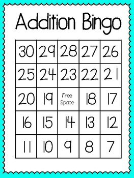 Addition Bingo (30 completely different cards & calling cards included!)
