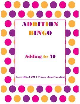 Addition Bingo (Adding to 30)