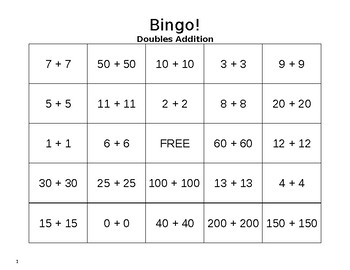 Addition Bingo Cards - Doubles Facts