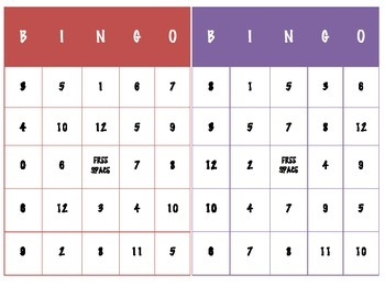Addition Bingo (Facts through 12)