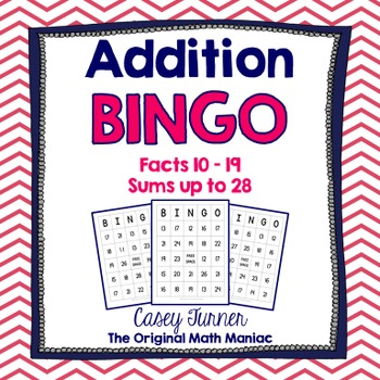 Addition Bingo Facts with Sums up to 28 Set of 25 Cards