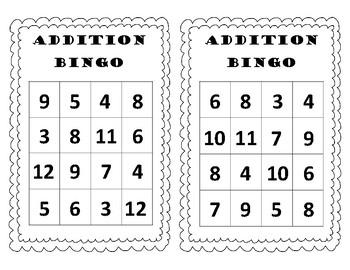Addition Bingo Sums to 12
