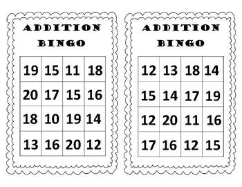 Addition Bingo Sums to 20