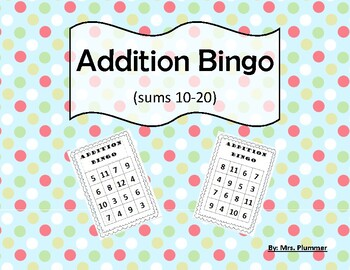 Addition Bingo Sums to 20