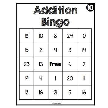 Addition Bingo-Sums to 24