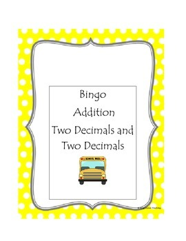 Addition Bingo Two Decimals