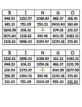Addition Bingo Two Decimals