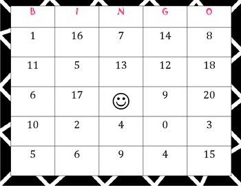 Addition Bingo (math facts with digits 1-9)