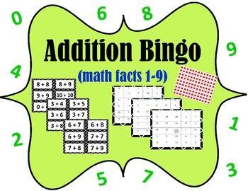 Addition Bingo (math facts with digits 1-9)