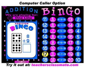 Addition Bingo with Interactive Whiteboard Option