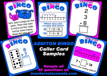 Addition Bingo with Interactive Whiteboard Option