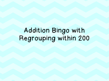 Addition Bingo with Regrouping