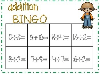 Fall Addition Bingo