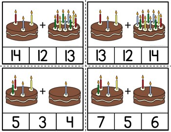 Addition Birthday Candles Clip Cards Celebrating Through Addition to 20