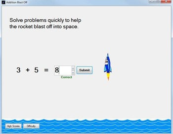 Addition Game: Addition-Fact Practice Computer Game--Addition Blast Off