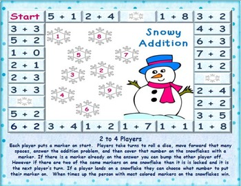 Addition Board Game valentine and Snowy 1-9