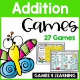 Insect Friends Addition Games for Fact Fluency: Printable Math Board Games