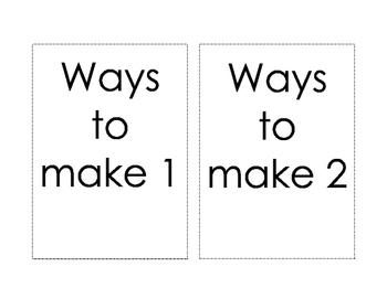 Addition Book - 1 - 10 - Ways to make 1 - 10