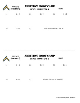 Addition Boot Camp -- Differentiated Addition Practice Assignments