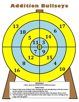 Addition Bullseye - A 2 Player Game to Practice Adding and Recognizing Numbers