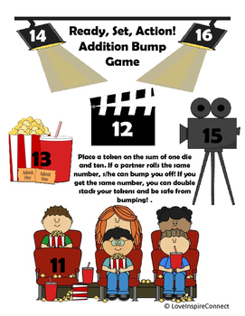 Addition Bump Game: Roll 1, Add 10 at the Movie Theater