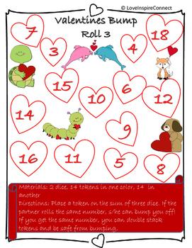 Addition Bump Game: Valentine's Day Theme
