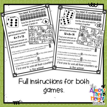 Addition Bump Games - 22 Fishing themed Math Game Boards - low ink option