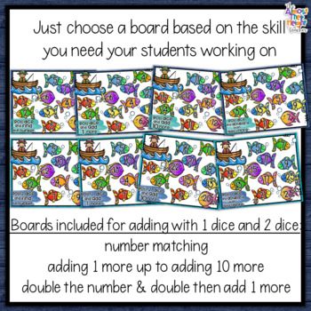 Addition Bump Games - Fishing for More Numbers themed