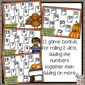 Addition Bump Games - Thanksgiving themed