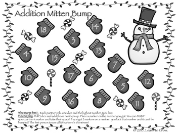 Addition Bump It Games! Winter Edition