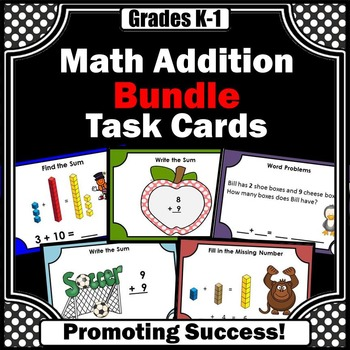 Base Ten Blocks Addition Task Cards BUNDLE, Special Education Math Games