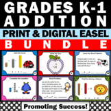 Kindergarten Math Centers Beginning of the Year Addition Task Cards BUNDLE