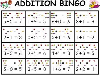 Addition Candy Bingo