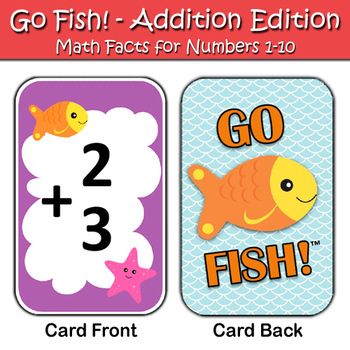 Addition Go Fish Game - Numbers 1-10