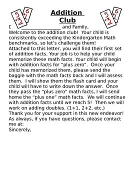 Letter to Parents- Welcome to Addition Club