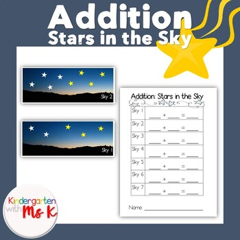 Addition Cards and Answer Sheet: Stars in the Sky