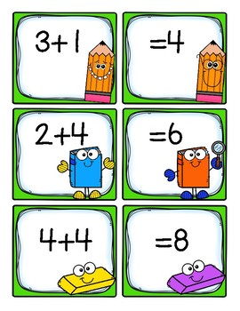 Addition Cards:  sums 1-12