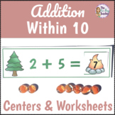 Addition Within 10 Worksheets and Centers